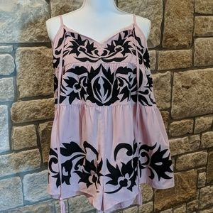 NWOT Free People Pink/Black Romper, Size Small